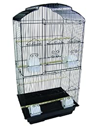 YML 3/8-Inch Bar Spacing Tall ShellTop Bird Cage, 18-Inch by 14-Inch, Black