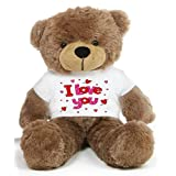 Brown 2 feet Big Teddy Bear wearing a I Love You T-shirt - B00KUDZTYY