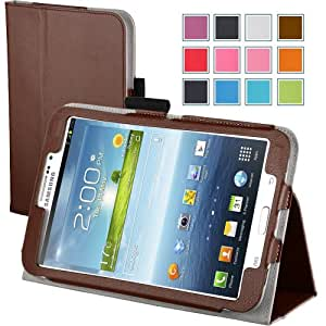 Maxboost Leather Case for Samsung Galaxy Tab 3 7.0 Inch P3200 / P3210 Brown - Book Folio Style with Built-in Stand, Wallet Card Holder, Stylus Holder, Hand Holding Strap, Memory Card Holder