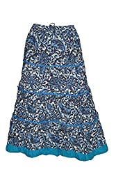 Indiatrendzs Women's Maxi Skirt Blue Paisley Printed A-Line Long Skirts