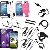 Fosmon 16 in 1 His & Hers Bundle for the Samsung Galaxy S4 / I9500 - Includes 2x Fosmon Mesh-SD Design PC + Silicone Hybrid Kickstand Cases 3 Pack of Crystal Clear Screen Protectors 2x Stereo Headsets with Mic (Black) 3.5mm Stereo Headphone Splitter Adapter 2 Pack Touch Screen Stylus Retractable 3.5mm Stereo Auxilliary Cable Micro USB Car Charger Travel Charger USB Transfer Charging Cable & 2x Cellphone Neckstrap Lanyards