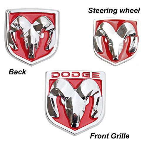 BENZEE 3pcs Set AM109-R Red Dodge Front Hood + Back Rear + Steering Wheel Car Emblem Badge Sticker (Dodge Emblem For Steering Wheel compare prices)