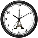 Eiffel Tower Paris & France - Famous Landmarks - Theme Wall Clock by WatchBuddy Timepieces (White Frame)