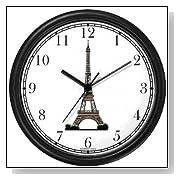 Black Paris Eiffel Tower Themed Wall Clock