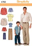 Simplicity Sewing Pattern 4760 Boys and Men Shirts and Pants, A (S-M-L/S-M-L-XL)