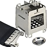 """Outwolves (TM) camping wood burning stove, backpacking alcohol stove - """"304 Grade"""" Stainless steel - Easily dismantled / disassembled - Compact, Portable & Light"""