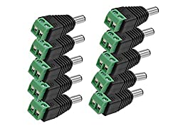 Pnp Dc Connectors Screw Type (Green) For Cctv Camera,[ Pack Of 10Pcs. Connectors]