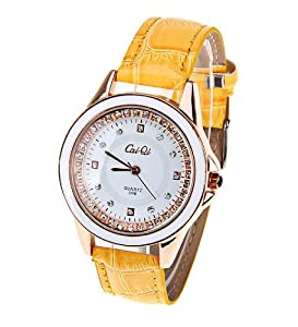 CaiQi Women Water Resistant Watch Yellow Leather Band Wrist Watch 598