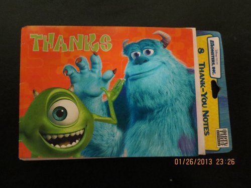 Monster, Inc 8 Thank You Notes