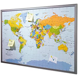 Pinboard Map of the World 90 x 60 cm includes 12 flag pins O