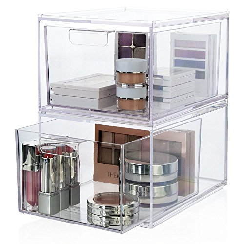 2-Pack Premium Quality Stackable Cosmetic Storage and Makeup Palette Organizer Drawers | Audrey Collection (Acrylic Small Containers compare prices)