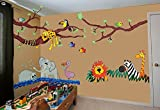 WallDesign Wild Jungle Hangout Multi-colour Removable Reusable Wall Sticker