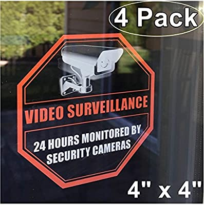 "**Front Self Adhesive Clear Vinyl** Outdoor/Indoor (4 Pack) 4"" X 4"" Home Business Security DVR CCTV Camera Video Surveillance System Window Door Warning Alert Sticker Decals"