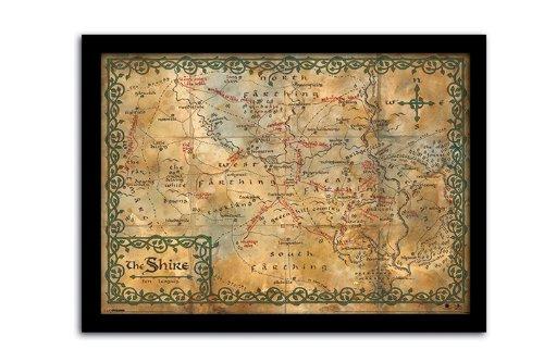 Pyramid International - Poster con cornice con la mappa della Contea di Hobbit