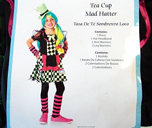 [Wonderland Tea Cup Mad Hatter Child Costume L 10-12 NIP] (Kids Mad Hatters Tea Party Costumes)