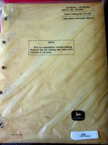 John Deere 95 Series Combine Parts Manual s/n 95-9001-