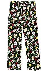 Women's Sugar Skull Black Cotton Pajama Pants