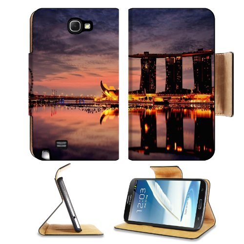 Marina Bay Sands Hotel Singapore Samsung Galaxy Note 2 N7100 Flip Case Stand Magnetic Cover Open Ports Customized Made To Order Support Ready Premium Deluxe Pu Leather 6 1/16 Inch (154Mm) X 3 5/16 Inch (84Mm) X 9/16 Inch (14Mm) Liil Note 2 Cover Professio