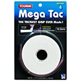 Tourna Mega Tac Tennis Racket Grip, White, 10-Pack