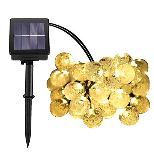 [Christmas Decoration Lights LED Waterproof Solar String Lights by Big House 20ft 30 Globe Crystal Ball Outdoor for Garden Patio Yard Wedding Party Tree Decor Warm] (Big Party Decorations)