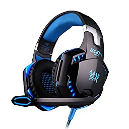 DIZA100 KOTION EACH G2000 Over-ear Game Gaming Headphone Headset Earphone Headband with Mic Stereo Bass LED Light for PC Game - Black&Blue