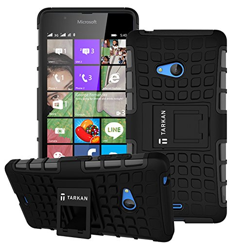 TARKAN Hard Armor Hybrid Rubber Bumper Flip Stand Rugged Back Case Cover For Microsoft Lumia 540 - BLACK