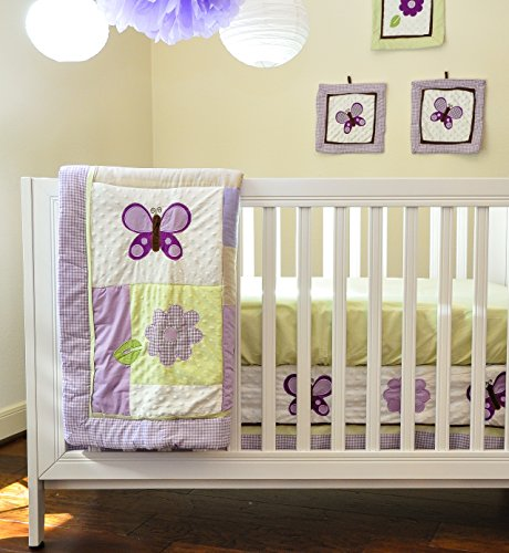 Pam Grace Creations 10 Piece Crib Bedding Set, Lavender Butterfly - 1