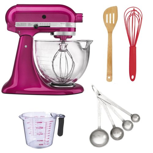 Kitchenaid KSM155GB Artisan Design Tilt-Head Stand Mixer 5 qt. in Raspberry Ice + Measuring Cup 1000ml + Measuring Spoon Set + Accessory Kit Get Rabate