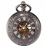 Carrie Hughes pocket watch Retro mechanical Skeleton Hand-wind engraved Metal gold black CHPW07