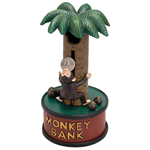 Bits and Pieces - Monkey Up A Tree Cast-Iron Mechanical Bank - Novelty Personal Coin Bank for Animal Lovers and Collectors
