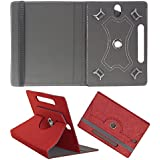 DMP Designer 360 Degree Rotating Leather Flip Case Book Cover With Stand For Samsung Galaxy Tab 3 T311 Tablet - Red