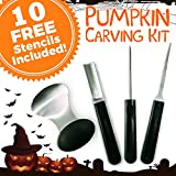 Pumpkin Carving Kit - 4-Piece Reusable Stainless Steel Tools Set with 10 Halloween Carving Pattern Stencils