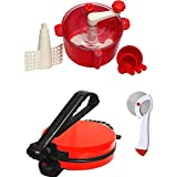 Great Combo Of Bansons Red Roti Maker With Dough Maker & Pizza Cutter