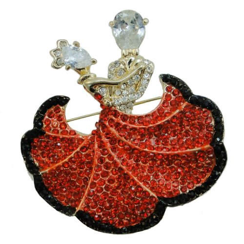 Ever Faith Ballroom Dance Couple Lover Brooch Pin Red Swarovski Crystal