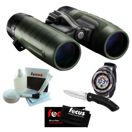 Bushnell Trophy Xlt 10X28 Green Compact Roof Prism Waterproof Fogproof Binoculars + Digital Watch & 8 Inch Knife Combo + Focus 5 Piece Deluxe Cleaning And Care Kit + Accessory Kit
