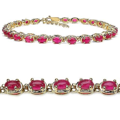 9.50 Carat Genuine Ruby 14K Gold Plated Sterling Silver Bracelet
