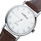 [Lightning Deals Price] Mostsola Luxury Business Men White Dial Brown Strap Quartz Watches