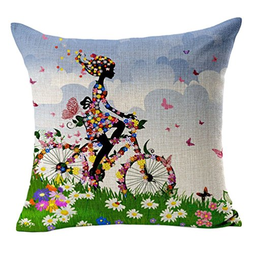 Monkeysell Color Bike Girl Tree Pattern Design Cotton Linen Square Decorative Fashion Throw Pillow Cases 18