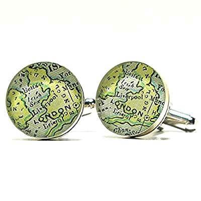 London England Antique Map Cufflinks