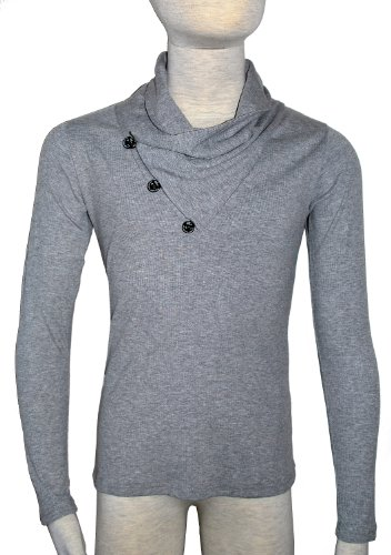 MENS CLASSIC GREY COWL NECK 3 BUTTON JUMPER - LARGE - TO FIT CHEST 38