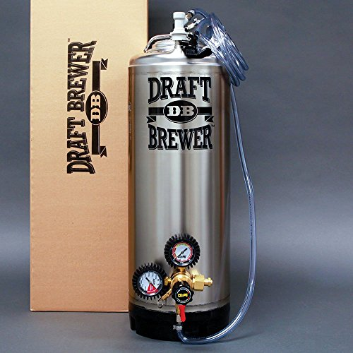Draft Brewer Single Homebrew Kegging System for Home Brew Beer - with Dual Gauge CO2 Regulator and a Single Ball Lock Keg (Dual Draft Beer Regulator compare prices)