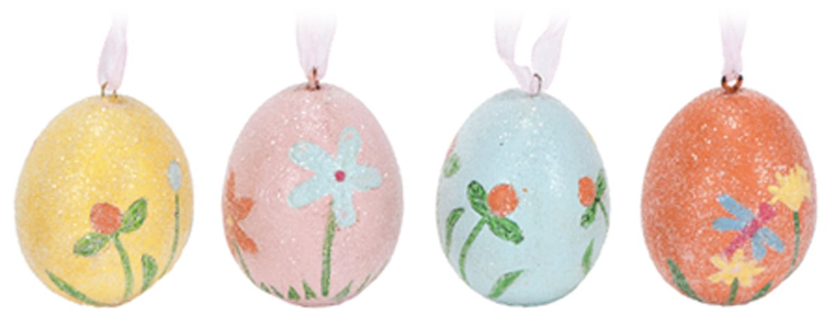 Glitter Easter Egg Ornaments with Flower Design - Set of 4