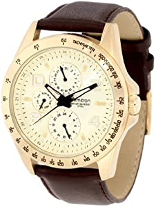 Armitron Men's 20/4727CHGPBN Gold-Tone Multi-Function Brown Dial Leather Strap Watch
