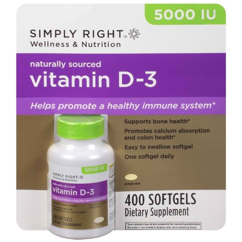 Scs10 Simply Right Wellness & Nutrition Vitamin D-3 5000 Iu - 400 Softgels Dietary Supplement