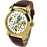 YouYouPifa Specials White Skeleton Dail Brown Leather Strap Automatic Mechanical Watch