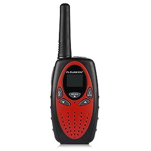 FLOUREON 4 Packs Walkie Talkies Two Way Radios 22 Channel 3000M (MAX 5000M open field) UHF Long Range Handheld Talkies Talky (Red) (Color: Red)