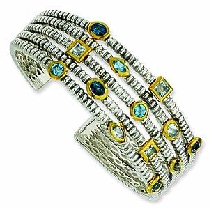 Sterling Silver/Gold-plated 4.82SkySwissLondon Blue Topaz Cuff Bracelet