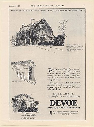1926 John Bartram Philadelphia PA Home Devoe Paint and Varnish Print Ad (65580) (Devoe Paint compare prices)