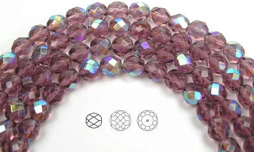 8mm (51) Light Amethyst AB coated, Czech Fire Polished Round Faceted Glass Beads, 16 inch strand