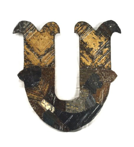 ZENTIQUE Medieval Patched Metal Letter, Small, Monogrammed U - 1